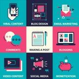 Ikona ustawiająca blogging i ogólnospołeczny medialny marketing Obraz Royalty Free