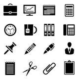Ikona ustawiająca czarna prosta sylwetka biurowe dostawy w płaskim projekcie Obraz Stock