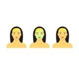 Ikona ustawiająca dla skincare infographic Kolorowy wektorowy wizerunek ilustrował kroki domycie ładna azjatykcia kobieta z trądz Zdjęcia Royalty Free