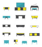 Ikona ustawiająca domowego i biurowego meble wnętrze w płaskim projekcie Obraz Royalty Free