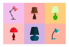 Ikona ustawiająca lampy Nowożytny mieszkanie styl Zdjęcia Stock