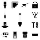 Ikona ustawiająca na białego background/Wektorowej łopacie rydel, ikony,/ustawia instrument Fotografia Royalty Free