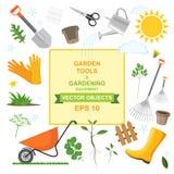 Ikona ustawiająca różni mili ogrodnictw narzędzia, wyposażenie, warzywa i rośliny, Kolorowi projekty wiosny horticulture flancowa ilustracji