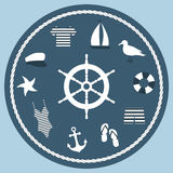 Ikona ustawiająca w morskim stylu z kierownicą w centrum skład Zdjęcia Stock