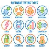 Ikona ustawiająca z typami oprogramowania testowanie, liniowe ikony, wektor ilustracja wektor