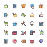Ikona ustawiająca - zakupy i handlu pełnego koloru konturu uderzenie obraz stock