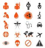 Ikona ustawiająca Zika wirusa infekcja ilustracja wektor