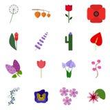 Ikona ustawiający kwiat Wektorowy floret ilustracja wektor