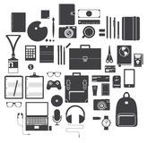 Ikona Ustawiająca Biurowy wyposażenie, podróż gadżet i hobby w Płaskim projekcie, wektor Zdjęcie Royalty Free