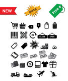 ikona ustawione na zakupy Obrazy Stock