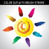 Ikona wektoru muśnięcia farby słońca set Zdjęcie Royalty Free
