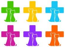 Ikona z weterynaryjnej medycyny symbolem i zwierzę domowe Zdjęcie Royalty Free