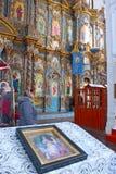 Ikone auf dem Tisch in der Kirche Stockbilder