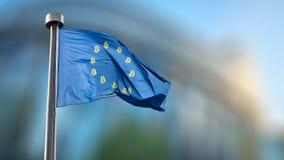 Ikone bitcoin auf der blauen EU-Flagge Lizenzfreie Stockfotos