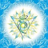Ikone Chakra Vishuddha, ayurvedic Symbol, Blumenmuster Stockfotografie