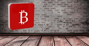 Ikone 3D Bitcoin im Raum Stockbild