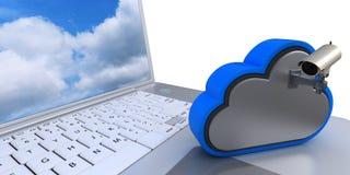 Ikone 3D Cloud Drive auf Computer Lizenzfreie Stockbilder