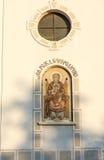 Ikone der Geburt Christi der Jungfrau am Eingang zu einem Tempel in Pomorie, Bulgarien Lizenzfreies Stockfoto