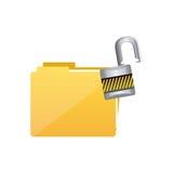 Ikone der gelben Datei und des offenen Verschlusses Lizenzfreie Stockfotografie