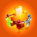 Ikone der Gesundheitspflege 3D, Mensch zusammen für Gesundheit Stockfotos
