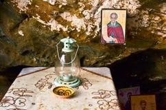 Ikone in der Höhle Lizenzfreies Stockbild