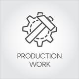 Ikone in der linearen Art des Gangrades und -hammers Konzept der Serienfertigung Konturnpiktogramm, Netzgraphikknopf Lizenzfreies Stockbild