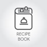 Ikone der Rezeptbuchzeichnung im Entwurfsdesign Schwarzes Logo des Kochbuches für verschiedene kulinarische Projekte Lizenzfreie Stockfotos