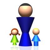 Ikone der Single-parent Familien-3D Lizenzfreies Stockbild