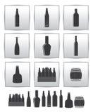 Ikone der vektoralkoholischen Getränke. quadratisches Grauset Lizenzfreies Stockfoto