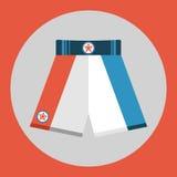 Ikone der Verpackenkurzen hosen Farbverpackenkurze hosen auf einem roten Hintergrund Ein Ski Stockfotos