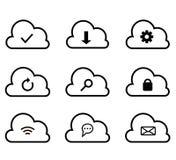 IKONE der Wolke Datenverarbeitungsgesetzte in Verbindung stehende Vektor-Linie Ikonen lizenzfreie stockbilder