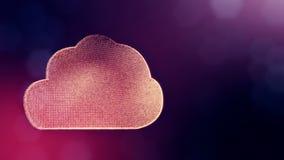 Ikone der Wolke Hintergrund gemacht von den Gl?henpartikeln als vitrtual Hologramm nahtlose Animation 3D mit Sch?rfentiefe, bokeh stock abbildung