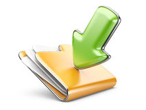 Ikone des Downloadordners 3d. Lizenzfreie Stockfotografie
