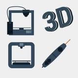 Ikone des Druckers 3d mit übersichtlichem Design Stockfotos