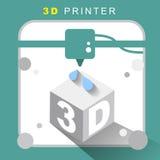 Ikone des Druckers 3d mit flachem Design Lizenzfreies Stockbild