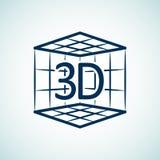 Ikone des Druckes 3d Lizenzfreie Stockfotos