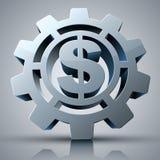 Ikone des Geldkonzeptes 3d mit Gang- und Dollarzeichen Lizenzfreies Stockbild