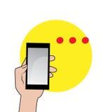 Ikone des Handys in der Hand Lizenzfreie Stockfotos
