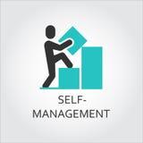 Ikone des Mannes errichtet Diagramm, Selbstverwaltungskonzept Lizenzfreie Stockfotografie