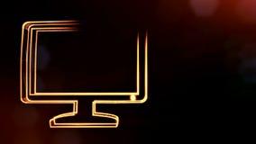 Ikone des Monitors Hintergrund gemacht von den Gl?henpartikeln als vitrtual Hologramm nahtlose Animation 3D mit Sch?rfentiefe stock abbildung