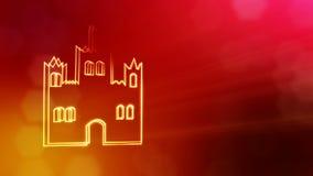 Ikone des Schlosses Hintergrund gemacht von den Gl?henpartikeln als vitrtual Hologramm nahtlose Animation 3D mit Sch?rfentiefe, b lizenzfreie abbildung