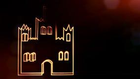 Ikone des Schlosses Hintergrund gemacht von den Gl?henpartikeln als vitrtual Hologramm nahtlose Animation 3D mit Sch?rfentiefe, b stock abbildung