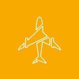 Ikone des transparenten Flugzeuges, Fläche auf orange Hintergrundvektorillustration Stockbilder