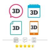 Ikone des Zeichens 3D Symbol der neuen Technologie 3D Lizenzfreie Stockfotos