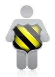 Ikone, die ein Sicherheitsschild hält Stockfotografie