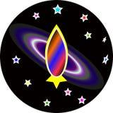 Ikone einer Weltraumrakete auf dem Hintergrund einer Galaxie lizenzfreie abbildung