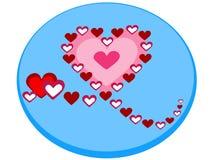 Ikone eines schönen Herzens, das mit kleineren Herzen in Form eines Vektormodells 2 gebildet wird - Vektor lizenzfreie stockfotos