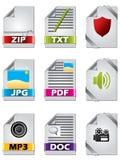 Ikone eingestellt für Dateien Lizenzfreies Stockbild