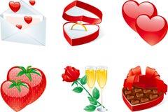 Ikone eingestellt für Valentinsgrüße Lizenzfreies Stockfoto