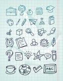 Ikone eingestellt - Hand gezeichnete Schulegekritzel Stockfoto